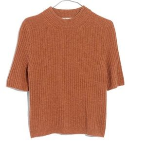 Madewell cashmere mock neck tee XXS rose color